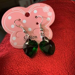 Army green crystal heart earrings